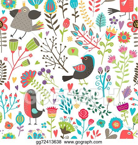 Hand Drawn Birds And Flowers Seamless Pattern
