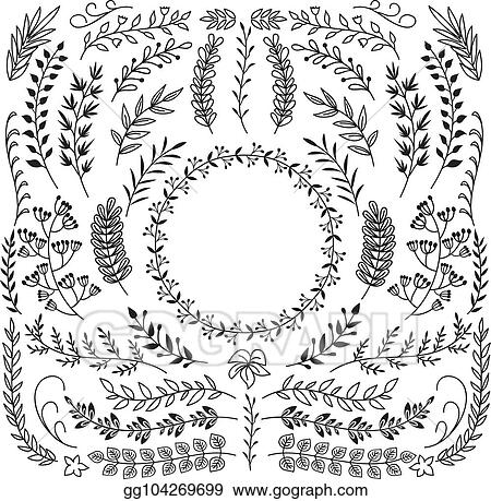 Vector Illustration - Hand drawn branches with leaves. decorative ...