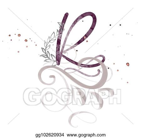 Stock Illustration Hand Drawn Calligraphy Letter R Watercolor
