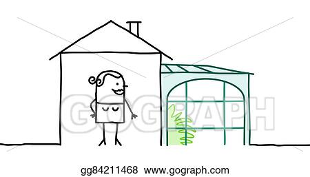 Drawing Hand Drawn Cartoon Characters Woman House With Veranda