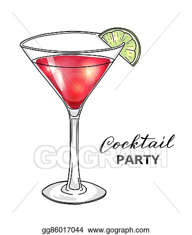 Vector Art Hand Drawn Cocktail In Martini Glass With Lime Clipart