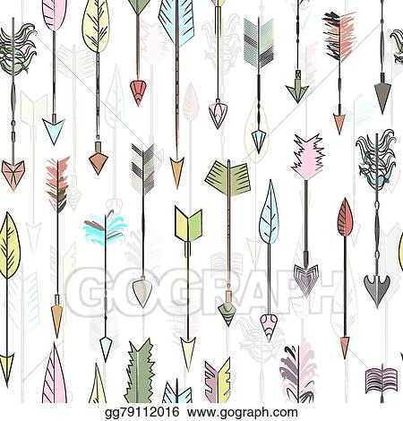 Eps Illustration Hand Drawn Colored Vector Arrows Collection Doodle Ethnic Indian Arrow Seamless Pattern Traditional Hunting Weapon Or Design Background For Cards And Invitations Vector Clipart Gg79112016 Gograph