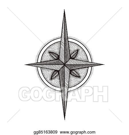 Vector Stock Hand Drawn Compass Wind Rose Symbol Stock Clip Art