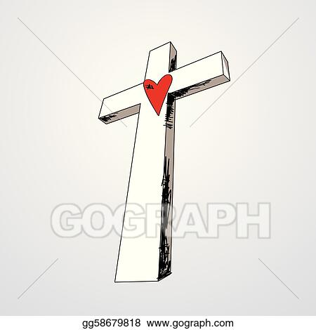 vector illustration hand drawn cross with heart eps clipart