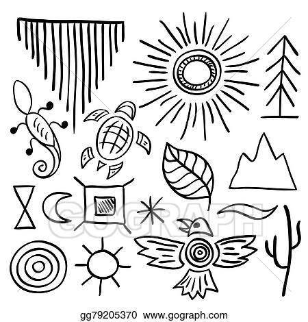 Vector Stock Hand Drawn Doodle Vector Native American Symbols Set