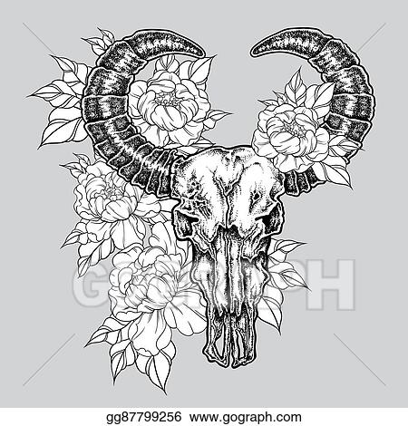 eea847c13 Hand drawn dot work tattoo buffalo skull with flowers. Native american art  in vintage boho style. Vector illustration isolated