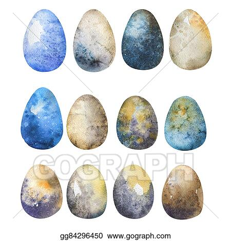 Easter egg watercolor. Clipart hand drawn eggs