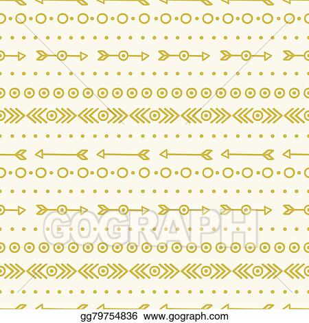 Vector Stock Hand Drawn Gold Geometric Ethnic Seamless Pattern
