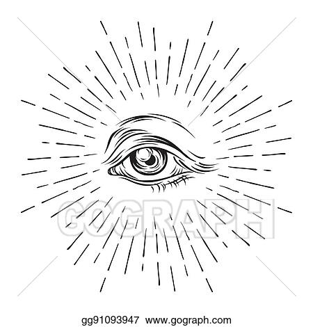 clip art vector hand drawn grunge sketch eye of providence