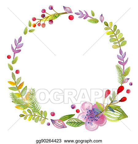 Stock Illustration - Hand drawn illustration - watercolor wreath ...