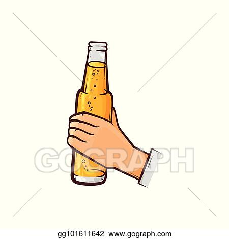 vector art hand drawn male hand holding opened beer bottle eps