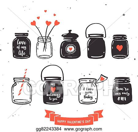 Vector Art Hand Drawn Mason Jar Collection Love Quotes Clipart