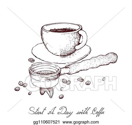 eps illustration hand drawn of hot coffee with portafilter vector clipart gg110607521 gograph hand drawn of hot coffee with