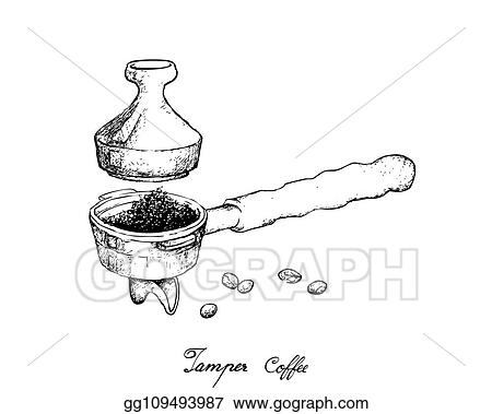 vector art hand drawn of portafilter with tamper for coffee machine clipart drawing gg109493987 gograph hand drawn of portafilter with tamper