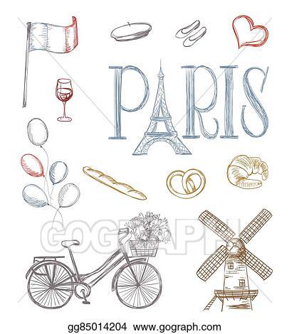 Clip Art Vector Hand Drawn Paris Symbols Tour Eiffel French