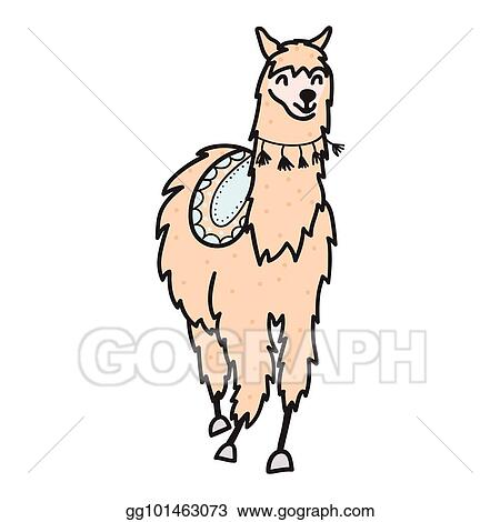 vector illustration hand drawn peru animal alpaca vicuna stock rh gograph com alpaca clipart images alpaca clipart black and white