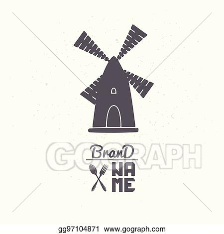 eps illustration hand drawn silhouette of wind mill logo template