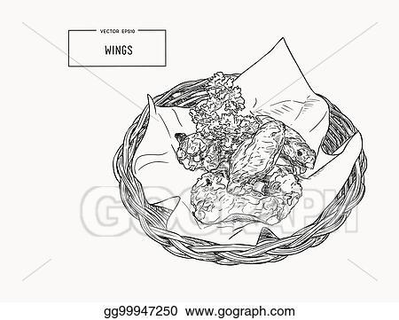 Clip Art Vector Hand Drawn Sketch Buffalo Chicken Wings In Basket