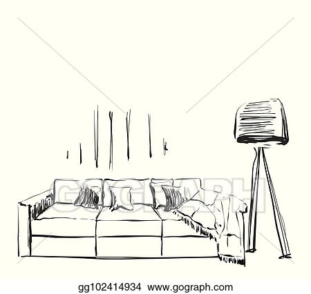 Vector Illustration Hand Drawn Sketch Of Modern Living Room