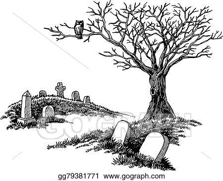 Vector Art - Hand drawn spooky graveyard. EPS clipart ...