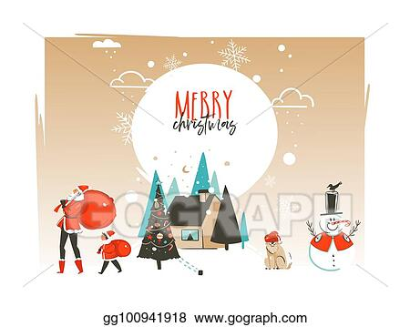 Vector Clipart Hand Drawn Vector Abstract Merry Christmas And Happy New Year Time Cartoon Illustrations Greeting Card Template With Outdoor Landscape House And Santa Claus Family Isolated On White Background Vector