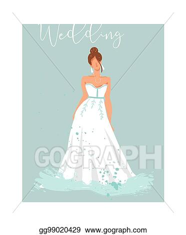 Vector Art - Hand drawn vector abstract wedding bridal in white ...