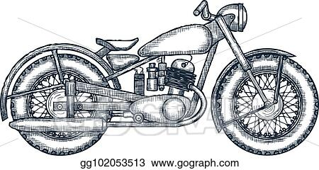 d1520f13 Hand Drawn Vintage Motorcycle vector logo design template. bikeshop or  motorcycle service icon. Vector