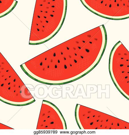 Eps Vector Hand Drawn Watermelon Slices Seamless Pattern Modern Stylish Linear Art Of Summer Ornament Repeating Background For Textiles Wrapping Paper Or Wallpapers Isolated Vector Illustration Stock Clipart Illustration Gg85939789 Gograph