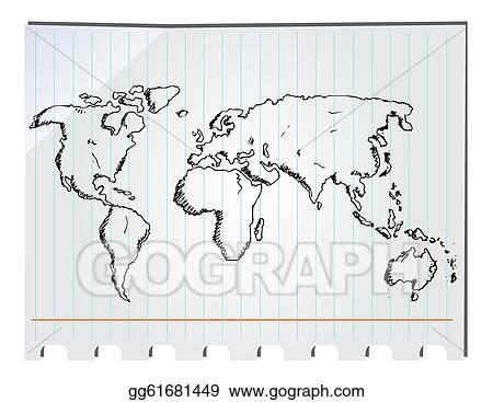 Hand Drawn Map Of The World.Eps Illustration Hand Drawn World Map Vector Clipart Gg61681449