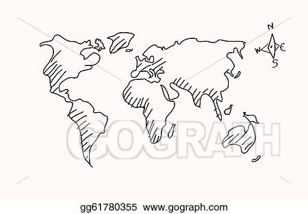 Hand Drawn Map Of The World.Vector Illustration Hand Drawn World Map Stock Clip Art