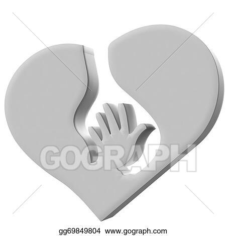 Drawings Hand Heart Symbol Protection Logo Stock Illustration