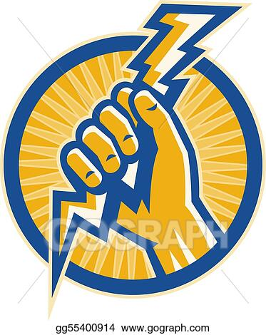 Lightning bolt hand holding. Clipart hold a of