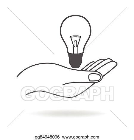 Vector Art - Hand holding a light bulb symbol  Clipart