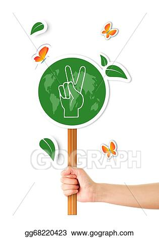 Stock Illustration Hand Holding Green World Peace Sign Clipart