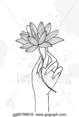 Clip Art Vector Hand Holding Lotus Flower Contour Hand Drawn