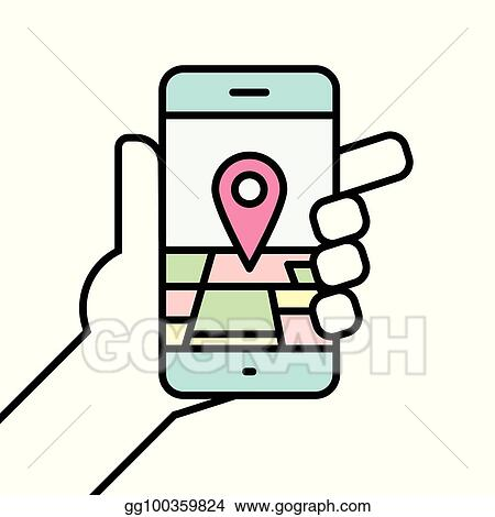 EPS Illustration - Hand holding smartphone linear icon line vector