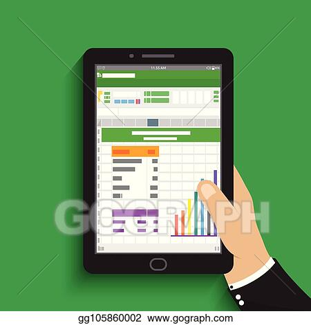 Vector Stock Hand Holding Tablet Businessman Read