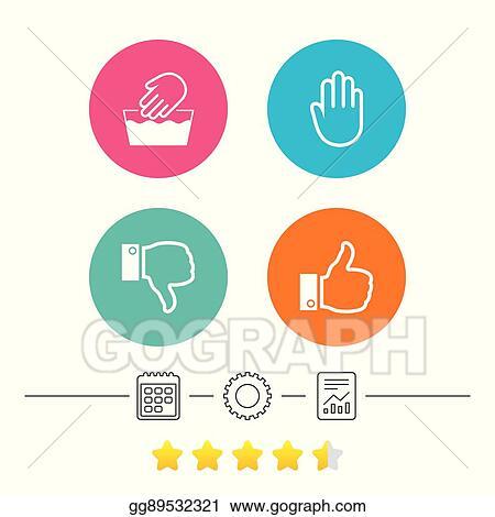 Vector Illustration Hand Icons Like And Dislike Thumb Up Symbols