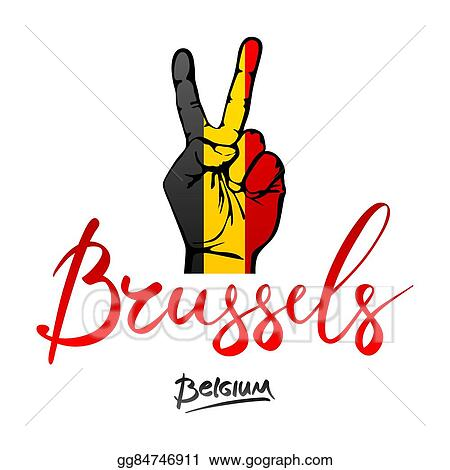 Eps Vector Hand Making The V Sign Belgium Flag Painted As Symbol