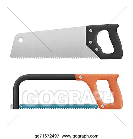 Stock Illustration Hand Saw Isolated For Cut To Wood And Metal Is