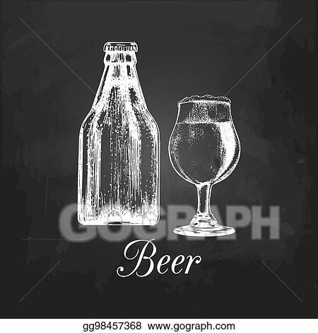 Vector Illustration Hand Sketched Craft Beer Bottle And Glass