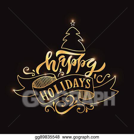 hand sketched happy holidays logotype badgeicon typography lettering happy holidays for christmasnew year greeting card invitation template