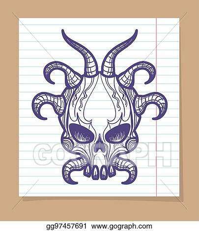 Vector Illustration Hand Sketched Monsters Skull With Horns Stock Clip Art Gg97457691 Gograph