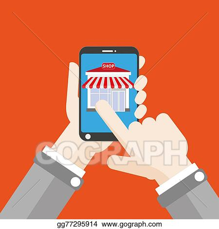 bc6332e6cfa Stock Illustrations - Hand smartphone shop click flat. Stock Clipart ...