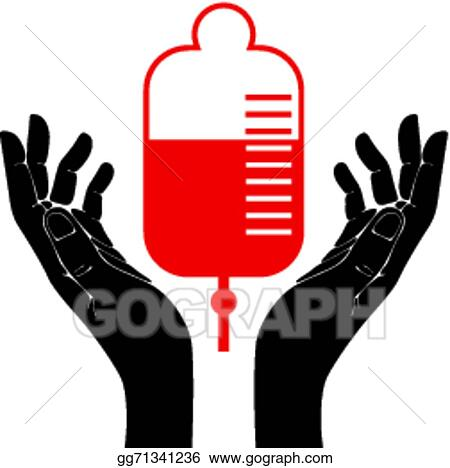 Vector Illustration - Hand with blood donation vector symbol