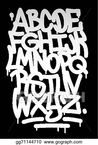 Vector Stock - Hand written graffiti font alphabet  vector