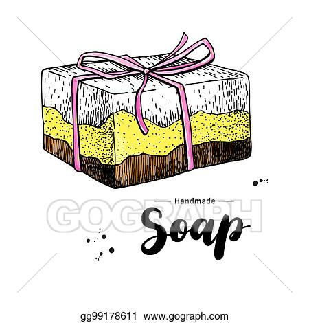 vector clipart handmade natural soap vector hand drawn illustration of organic cosmetic with lettering vector illustration gg99178611 gograph vector clipart handmade natural soap