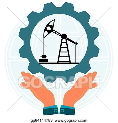 Vector Illustration Hands Holding A Gear With The Symbol Of An Oil