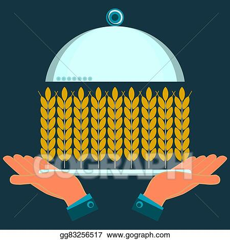 Vector Art Hands Holding A Serving Plate With Ears Of Wheat