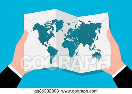 Clip art vector hands holding world map in flat stock eps hands holding world map in flat gumiabroncs Image collections